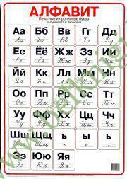 Алфавит. Печатные и прописные буквы по букварю Тириновой. (50х70 см)